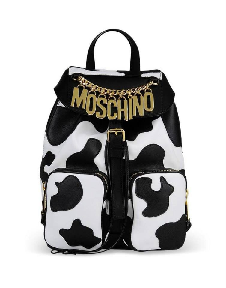 Moschino Cow Black And White Bag