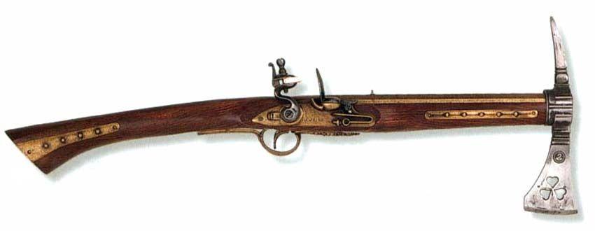 European Weapons in the 1600s | Combination pistol/hatchet, circa late 1600s (German Origin).