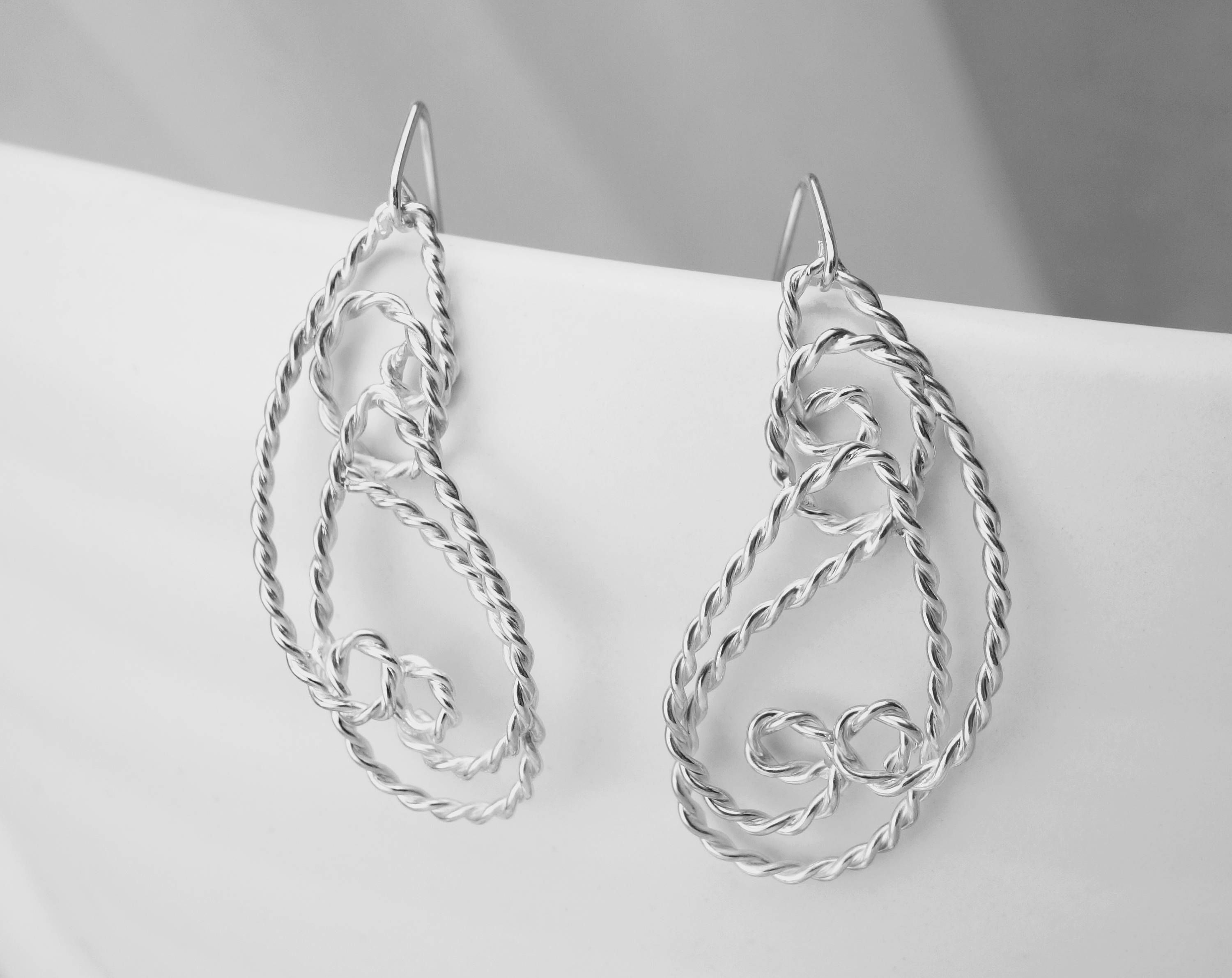 unique sterling dangle silver pin jewellery drop filigree handmade earrings long