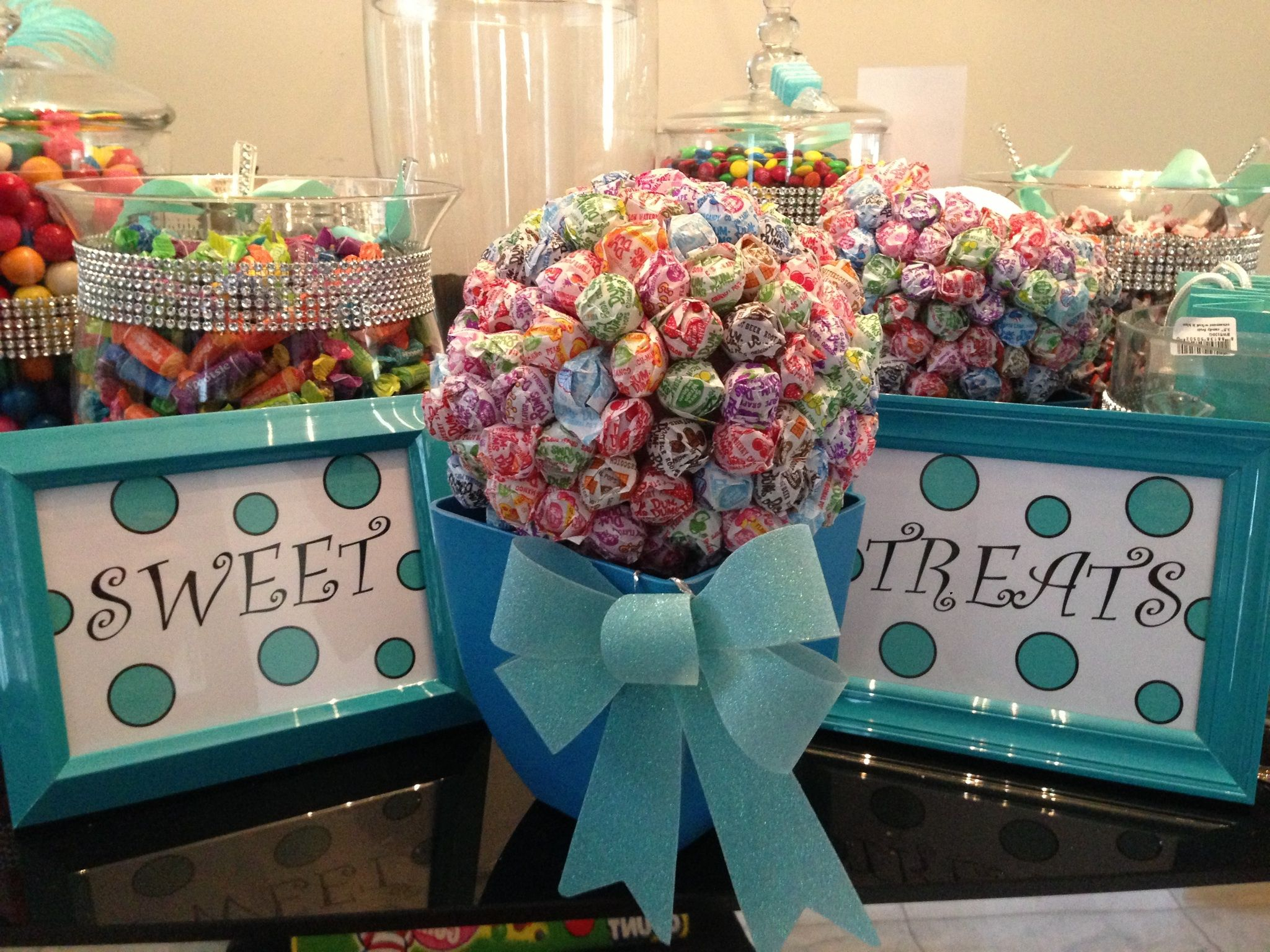 """""""Sweet Treats"""" Lollipop bouquets with custom Tiffany colored ribbon.   Created by: JamieByDesign"""
