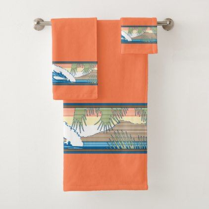 Ala Moana Diamond Head Hawaiian Surf Sign   Papaya Bath Towel Set     Ala Moana Diamond Head Hawaiian Surf Sign   Papaya Bath Towel Set   diy cyo  customize create your own personalize