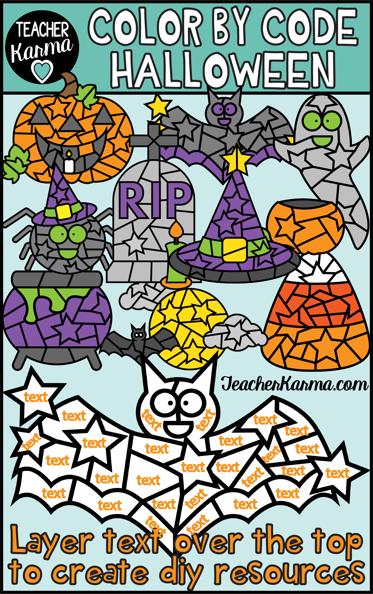 Color By Code Halloween Templates