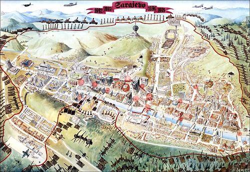 Map depicting Sarajevo under siege during the Bosnian War ... on amsterdam netherlands map, pristina kosovo map, surviving the killshot map, vladivostok russia map, bosnia and herzegovina map, slovenia bosnia map, damascus syria map, bosnia location on map, livno bosnia map, bratislava slovakia map, syrian land use map, blagaj bosnia map, ww1 map, zurich switzerland map, europe bosnia map, stockholm bosnia map, lukavac bosnia map, tirana albania map, bosnia genocide map, bosnia on world map,