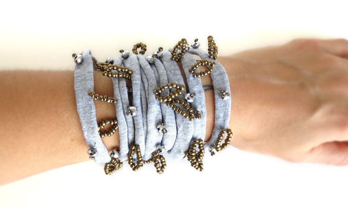 LightGrey&Gold Cuff bracelet | leFilomille