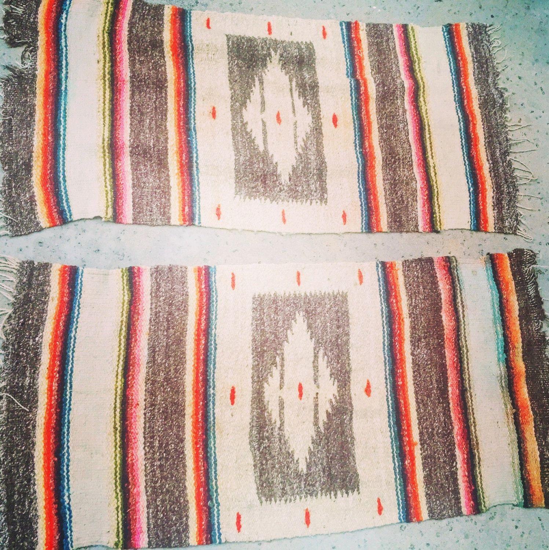 """Vintage wool aztec serape pair of runner rugs southwest, navajo, Mexican 46""""X23""""…"""