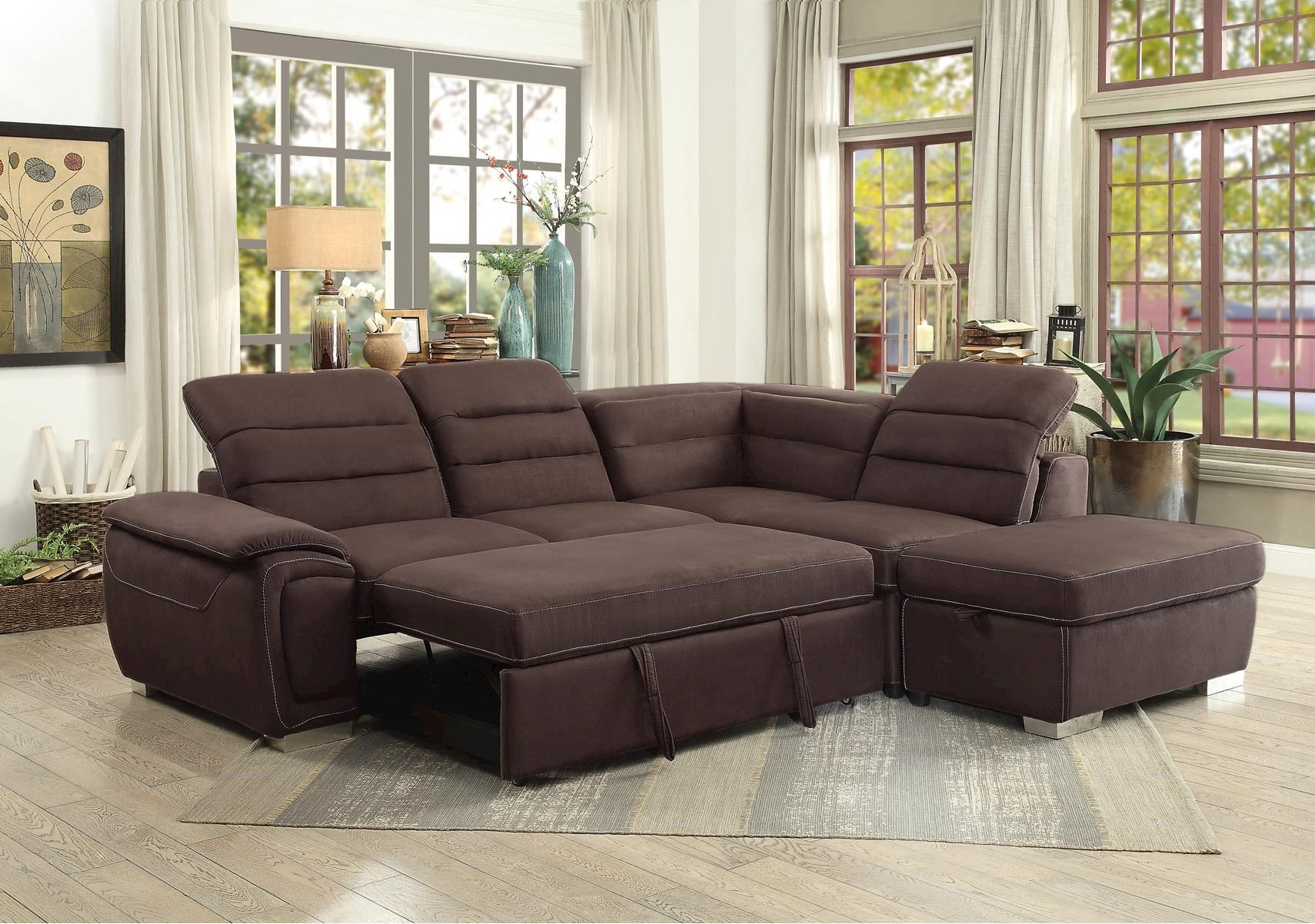 Lacks Emilio 3 Pc Sectional With Pullout Bed And Adjustable Headrest Sectional Sleeper Sofa Modern Sofa Sectional Small Sectional Sleeper Sofa