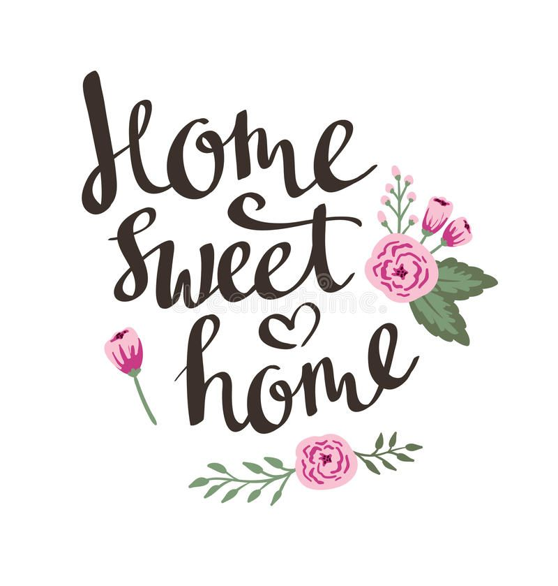 Hand Drawn Garden Floral Card With Stylish Lettering Home Sweet