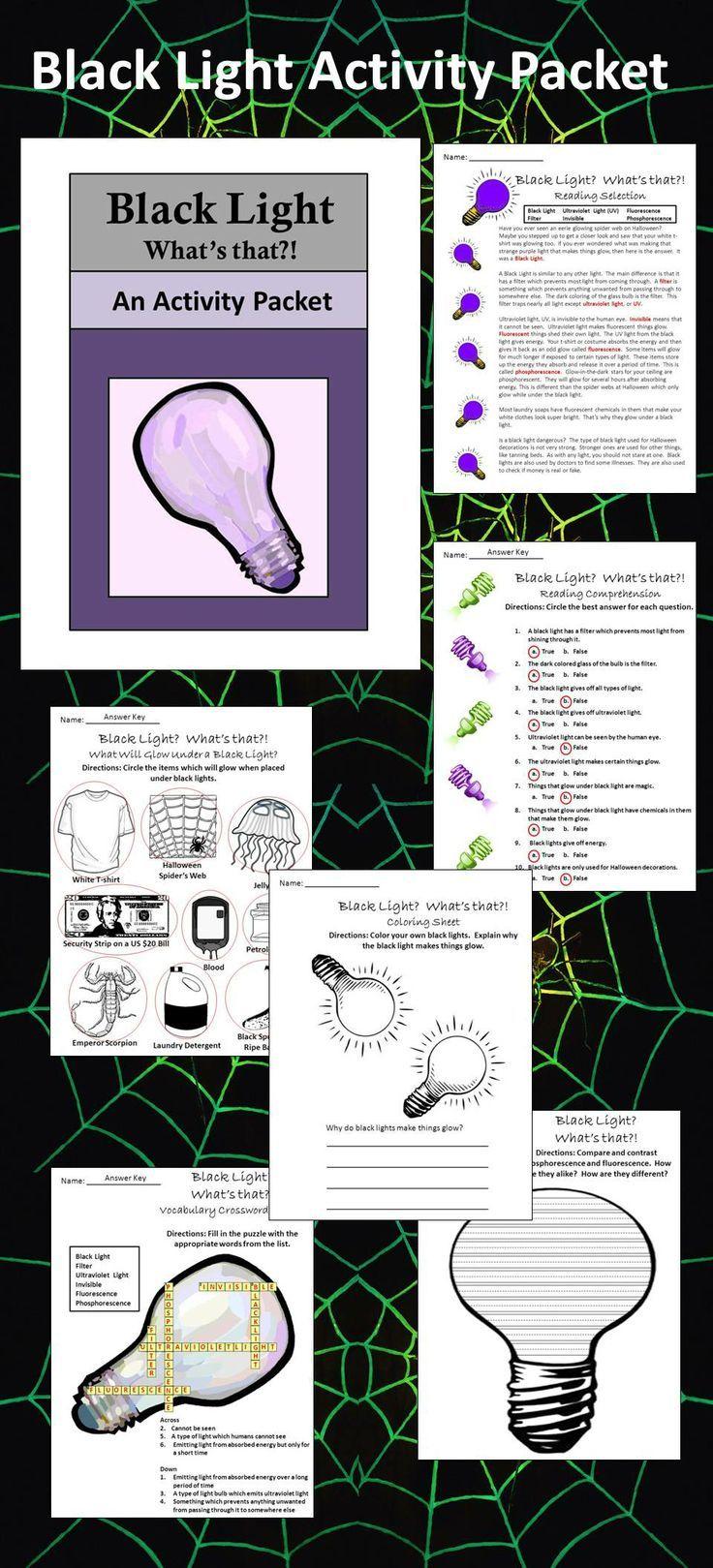 Halloween Science Activities: Black Light Activity Packet