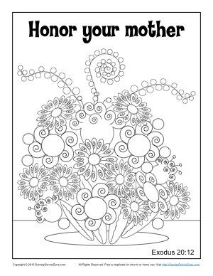 Honor Your Mother Coloring Page Sunday School Kids Sunday