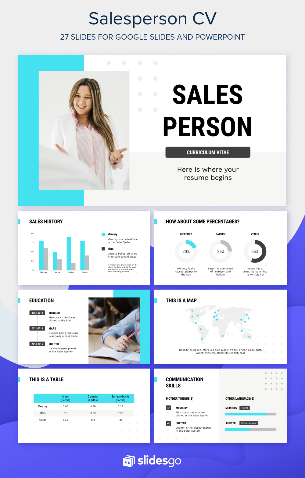 Present Your Resume With This Professional Salesperson Curriculum Template For Google Slides And Powerpoint Google Slides Themes Curriculum Template Powerpoint