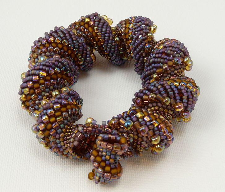BroydeBeads - Gold / Violet Spiral Bracelet