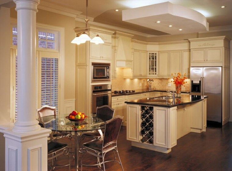 Fantástico Mesa De Cocina Isla Blanca Ornamento - Ideas de ...