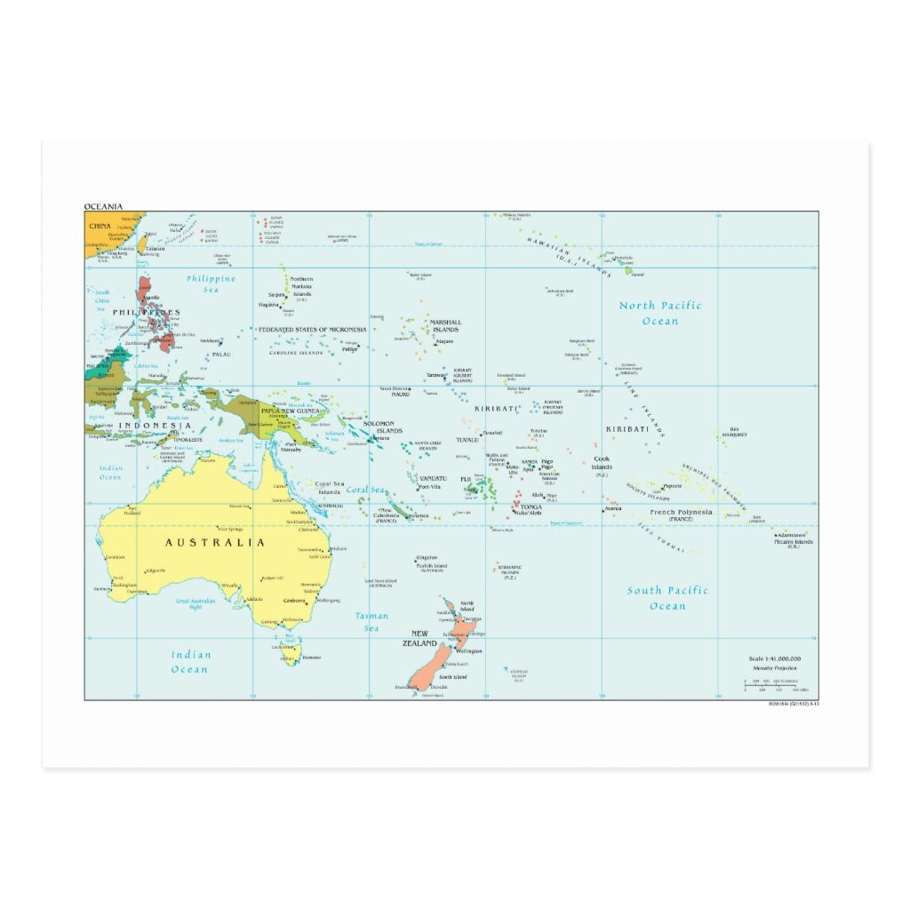 Map Of Oceania Postcard Zazzle Com South Pacific Islands Oceania South Pacific