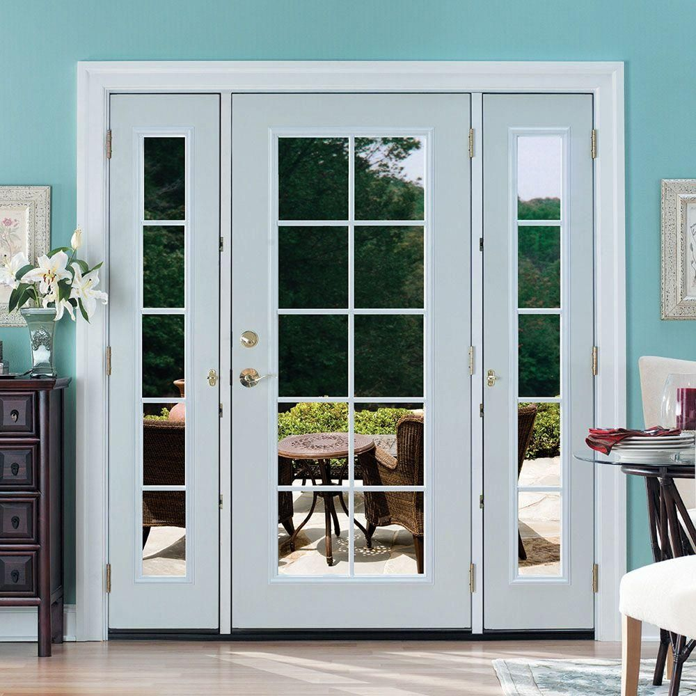Masonite 72 In X 80 In Prehung Left Hand Inswing 10 Lite Primed Steel Patio Door With Brick Single Patio Door French Doors With Sidelights French Doors Patio
