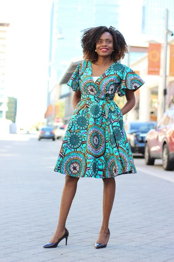 Cecey African Print Wrap Dress - Sarcelle