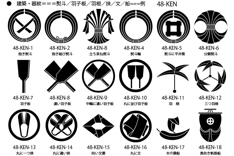 家紋 建築 器紋の一例 熨斗紋 鋏紋 羽根紋 羽子板紋その他