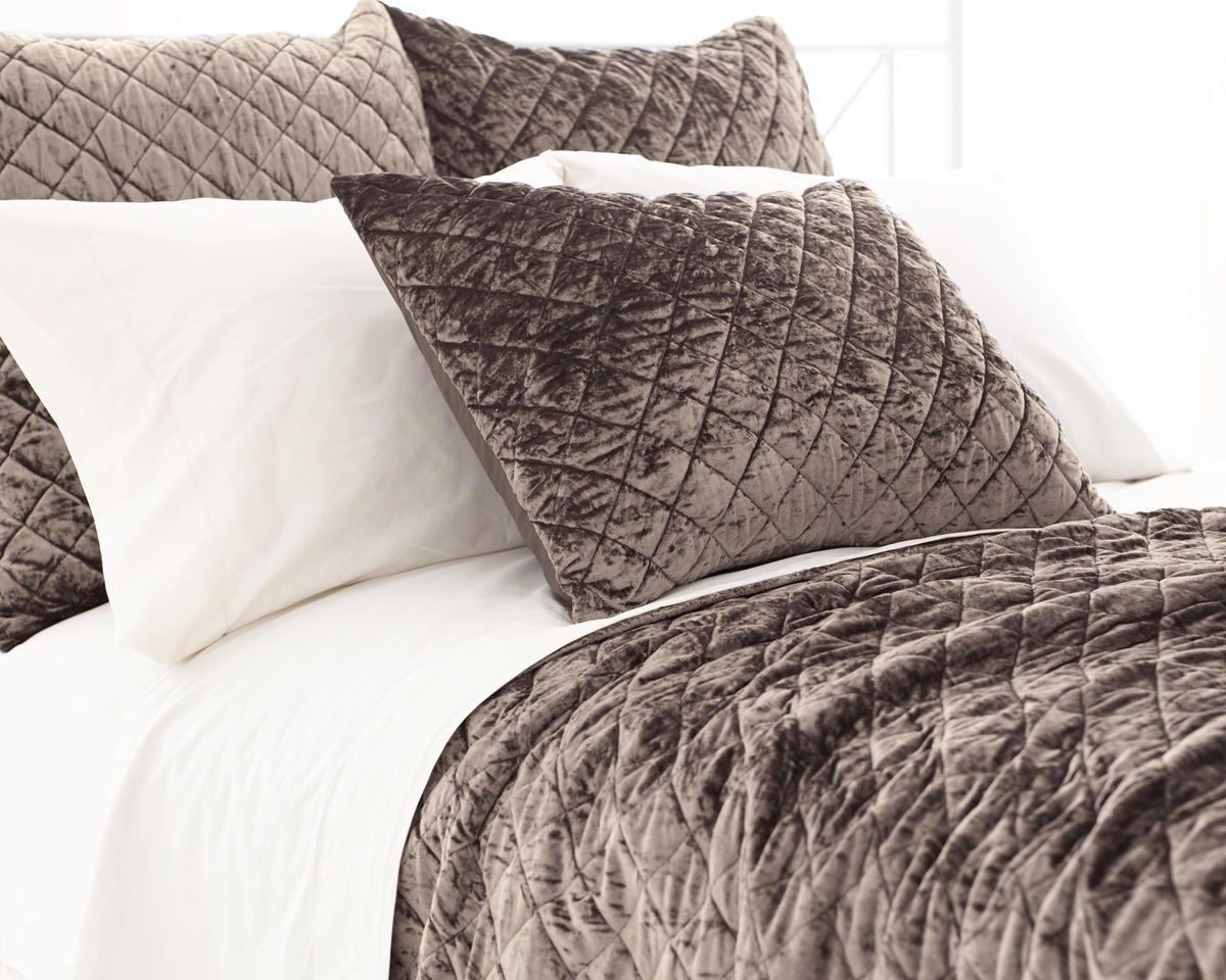 Pine Cone Hill Velvet Diamond Java Brown Quilted Coverlet Shams Velvet Furniture Quilted Coverlet Quilted Sham