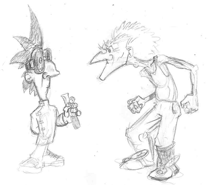 New character for myth-fits comic strip - sketched next to an old man for scale