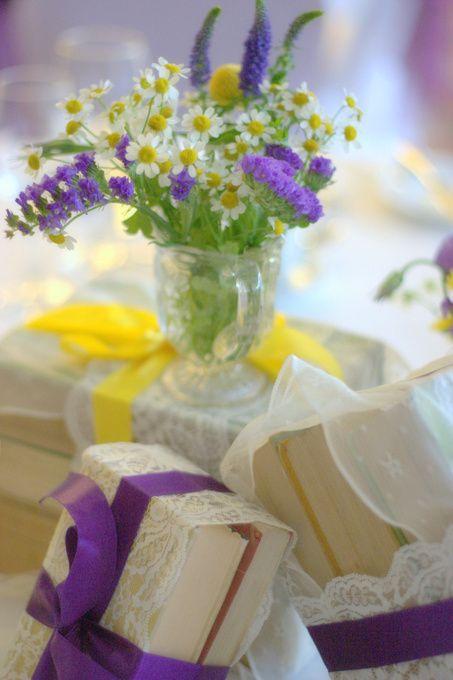 Vintage Lace And Cadbury Purple Wedding Theme With Yellow Ribbon