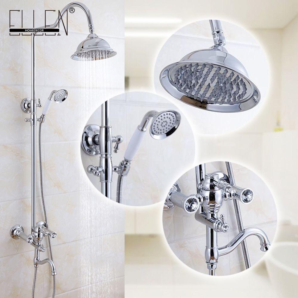 Bathroom Shower Set Wall Mount Shower Faucet Mixer Tap W Rain Shower Head Handheld Shower Chrome Finished Ml8 Bathroom Shower Round Mirror Bathroom Shower Set [ jpg ]