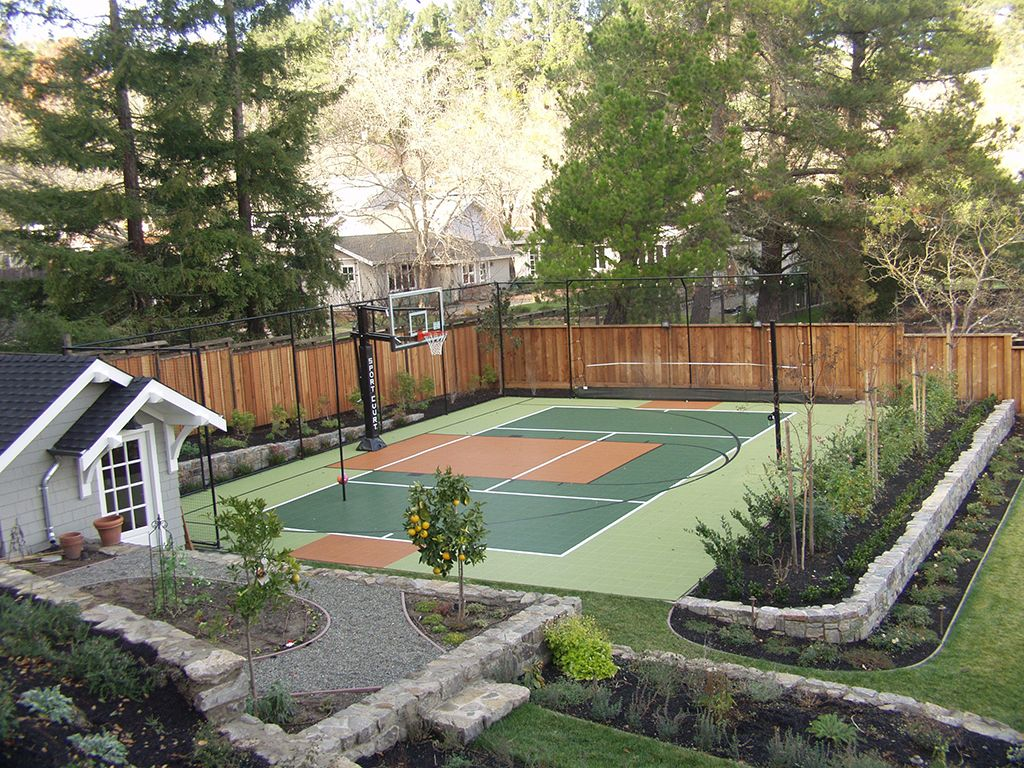 Sport court backyard court kids yard pinterest for Backyard sport court