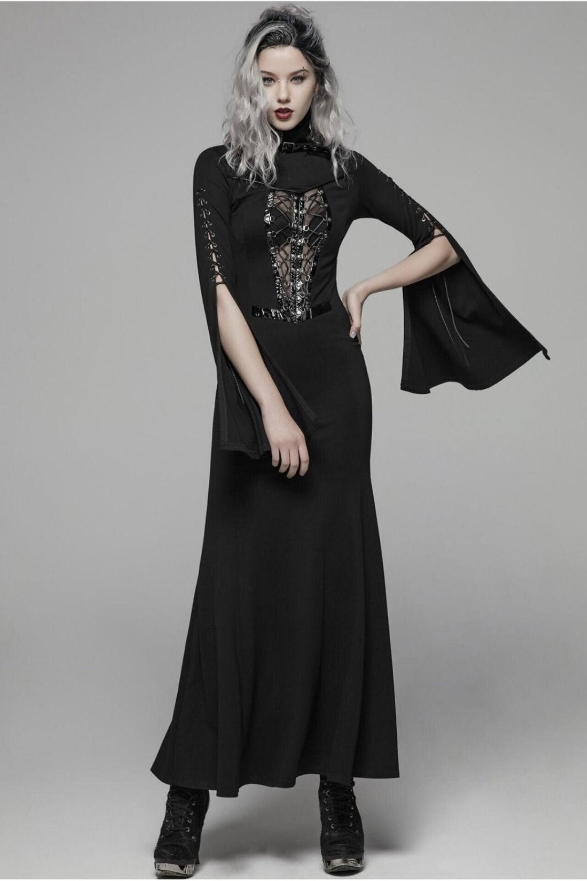 Gothic Kleider Frauen: Langes Kleid mit Trompetenärmel  Gothic