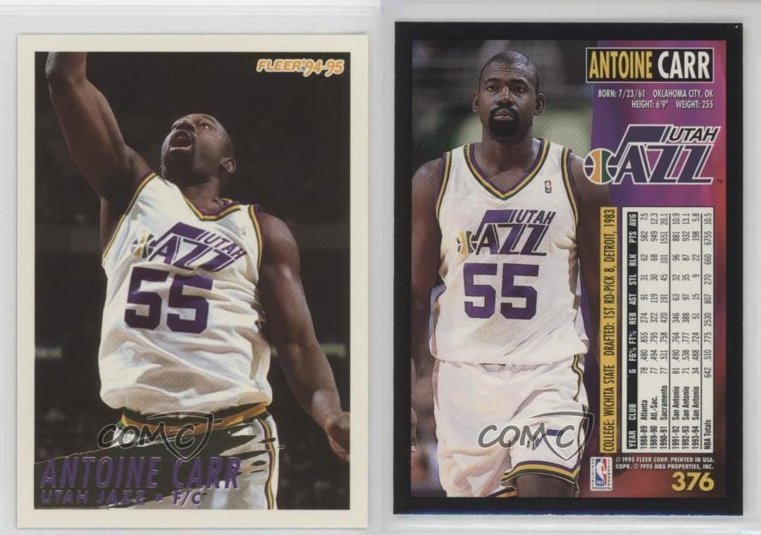 Details about 1994 95 Fleer European 376 Antoine Carr Utah Jazz