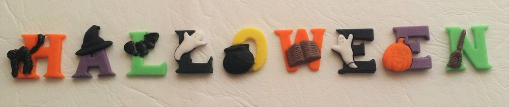 Halloween edible decorative letters cupcake toppers sugar paste