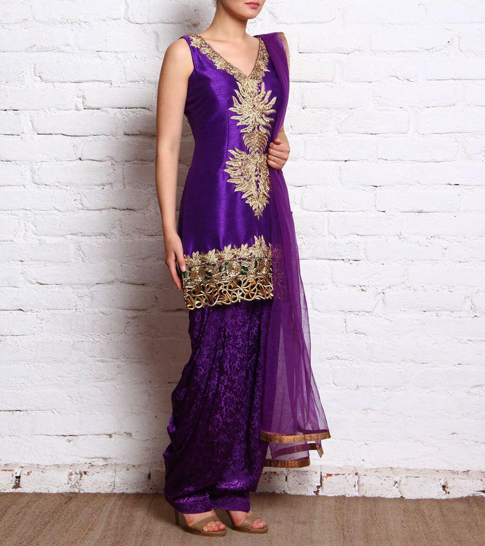 Purple Embroidered German Silk Patiala Suit With Zardozi Work Pashupati