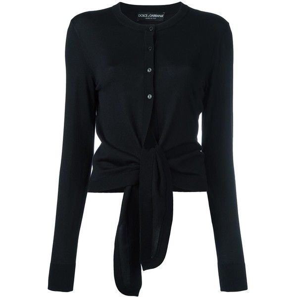 Dolce & Gabbana tie cardigan ($895) via Polyvore featuring tops ...