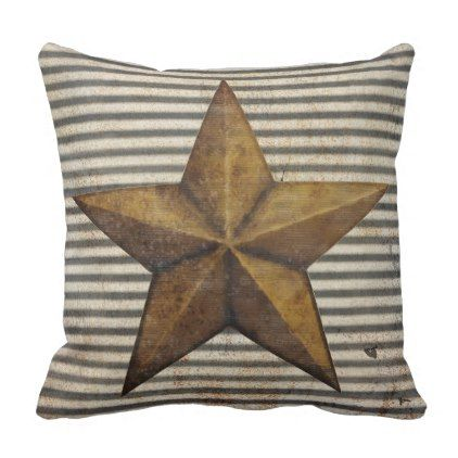 Texas Lone Star Baby Boy Rustic Farm Boho Nursery Throw Pillow