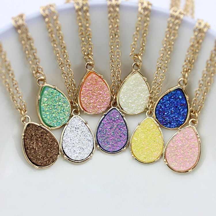 New! Check out our #Druzy #teardrop #necklaces! #druzylove #drusy #druzyagate #sparklythings #jewels #jewelryaddict #QTcutie #QTcutieJewelry #qtbag #❤️ only $10 dollars each! Matching earrings and necklace only $15
