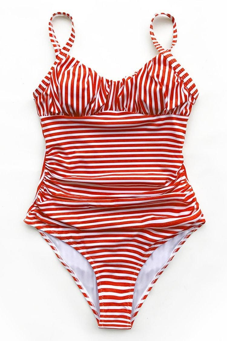 b9c5cea9cbb #EnvyWe #CupShe - #CUPSHE Red and White Stripe One-Piece Swimsuit with  Ruching - EnvyWe.com