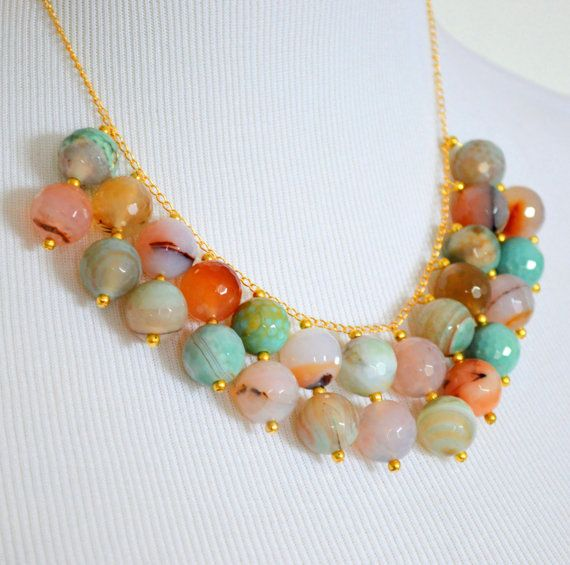Multicolor pastel and gold beaded bib necklace by rachelmulherin, $70.00