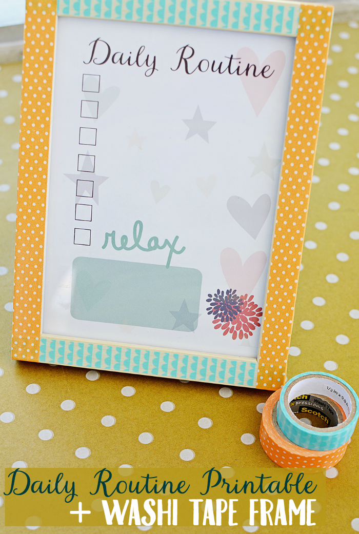 Get creative with this washi tape photo frame DIY. There's also a free printable to inspire you to create a daily routine!