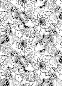 Adult Coloring Wonderful Koi Fish Pond Pattern Free Download