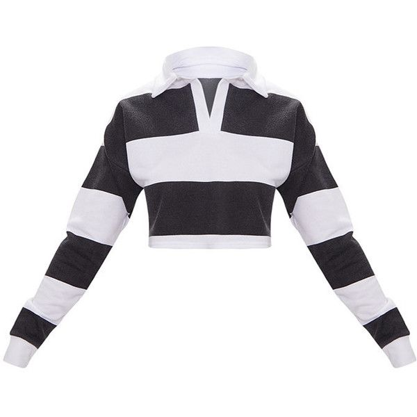 416e0e9320baf Black Stripe Collar Polo Long Sleeve Crop Top ( 25) ❤ liked on Polyvore  featuring tops