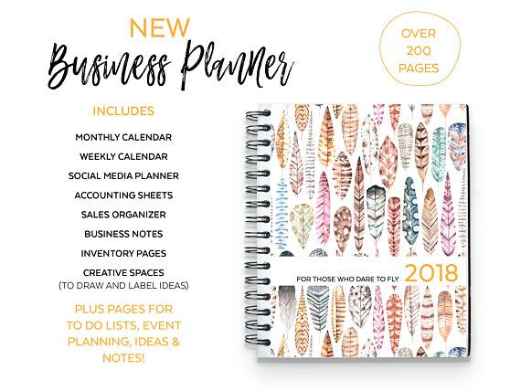 2017 2018 business planner pdf download calendar feather theme monthly weekly website social media accounting sales orders creative spaces