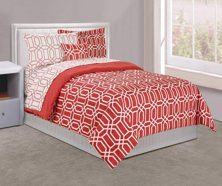 Just Home Coral Tile Bed In A Bag Collection Big Lots New