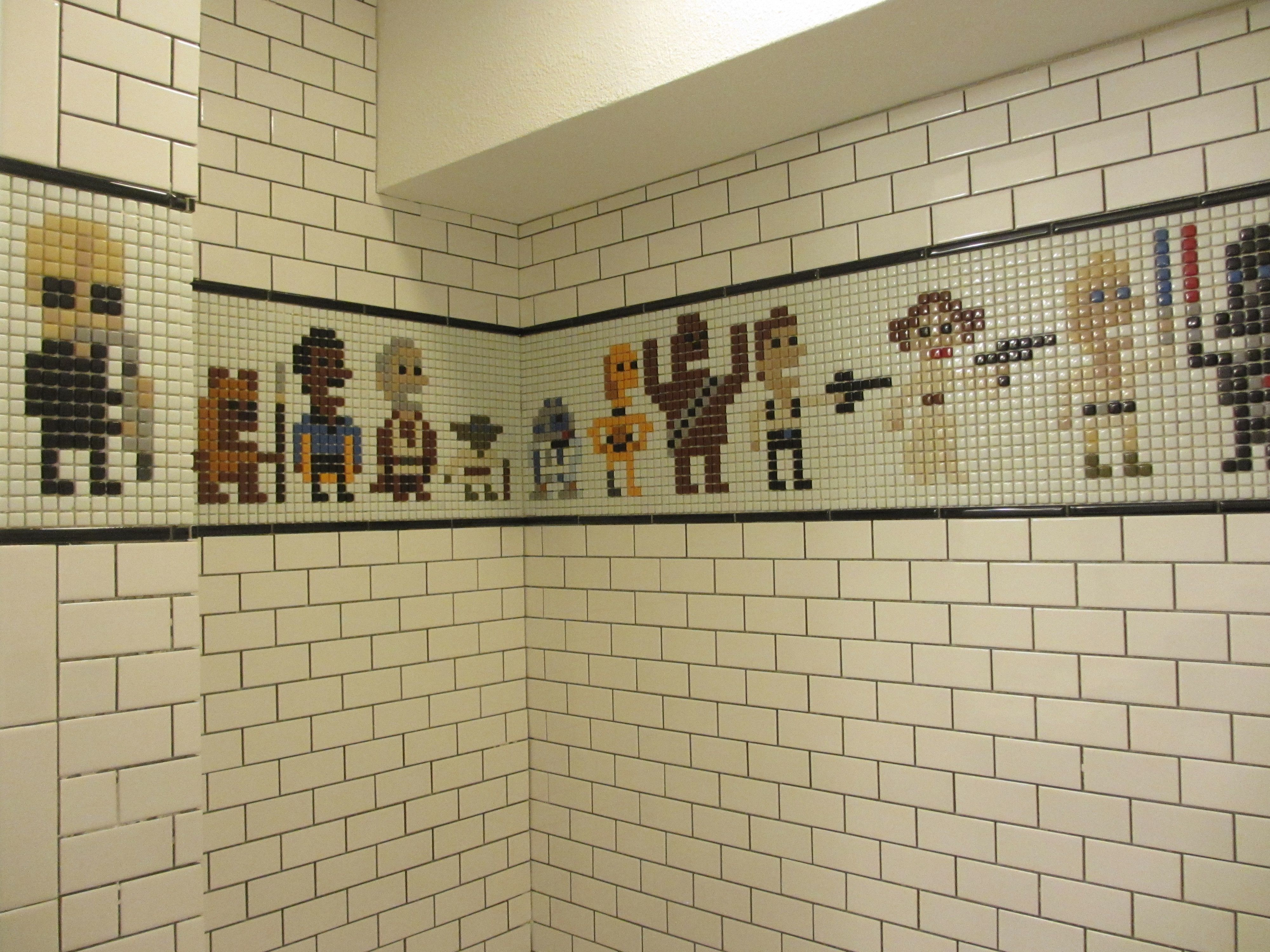finished my basement bathroom with a star wars pixel art shower