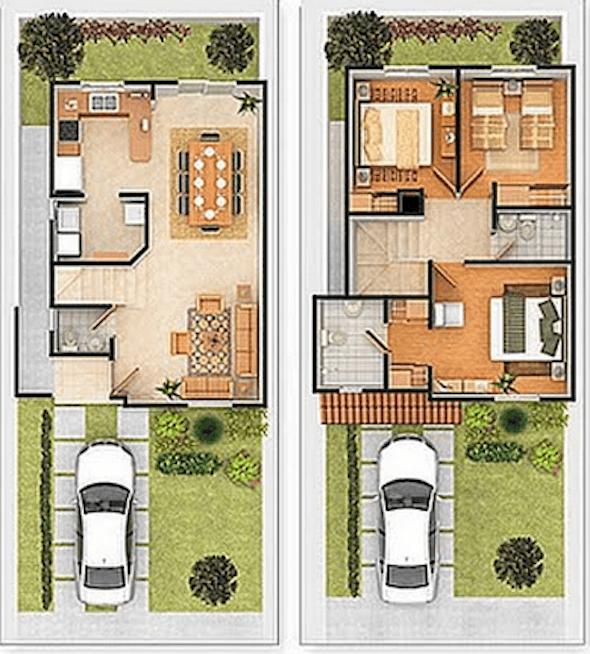 25 modelos de plantas de casas com 2 pisos que proporcionam um ...