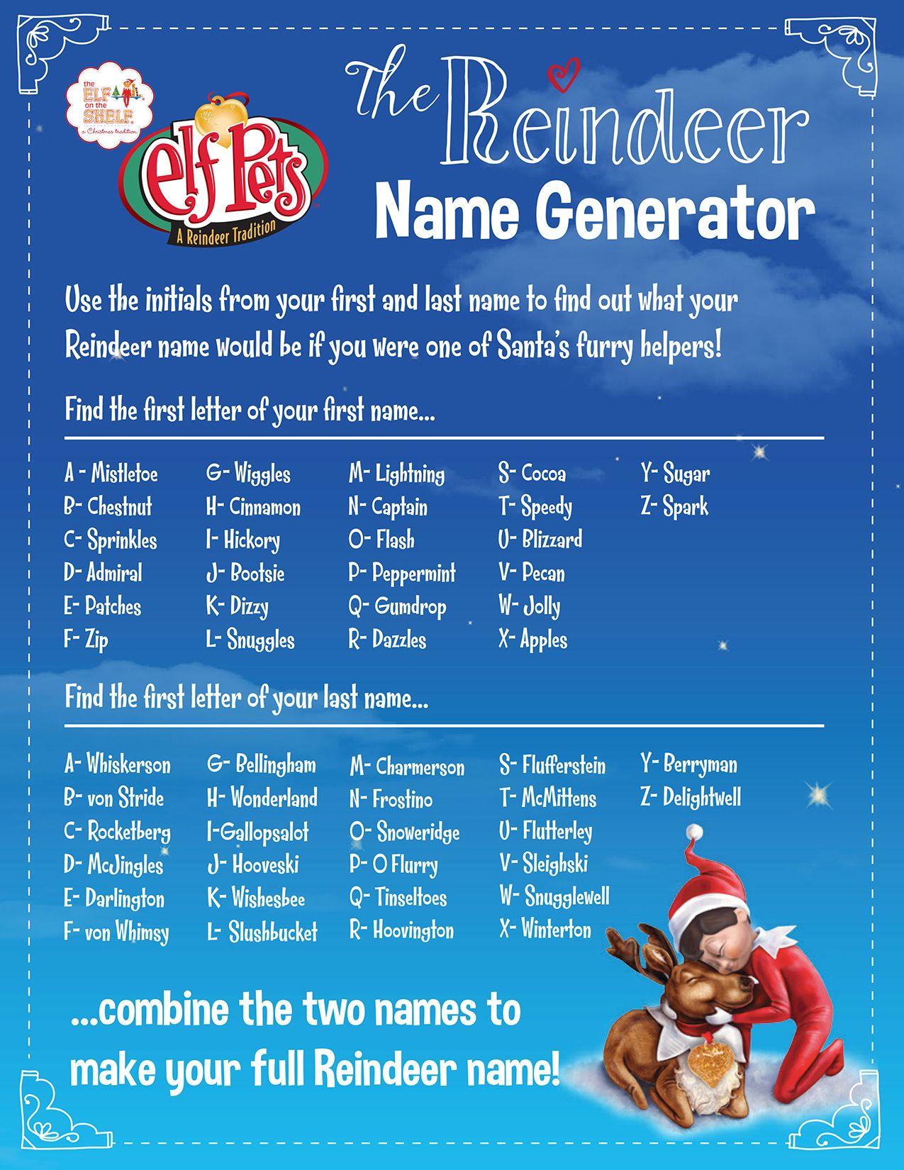 Find Your Reindeer Name! Reindeer names, Christmas names