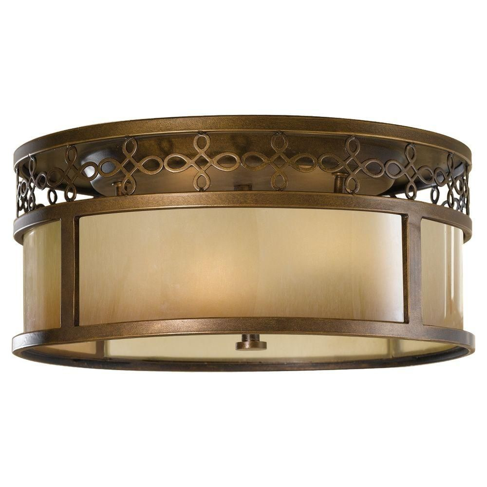 Feiss Justine 3-Light Astral Bronze Flushmount | Glass shades ...