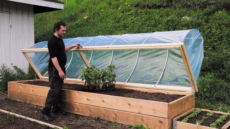 Easy Diy Hinged Hoophouse For Raised Bed With Images Raised