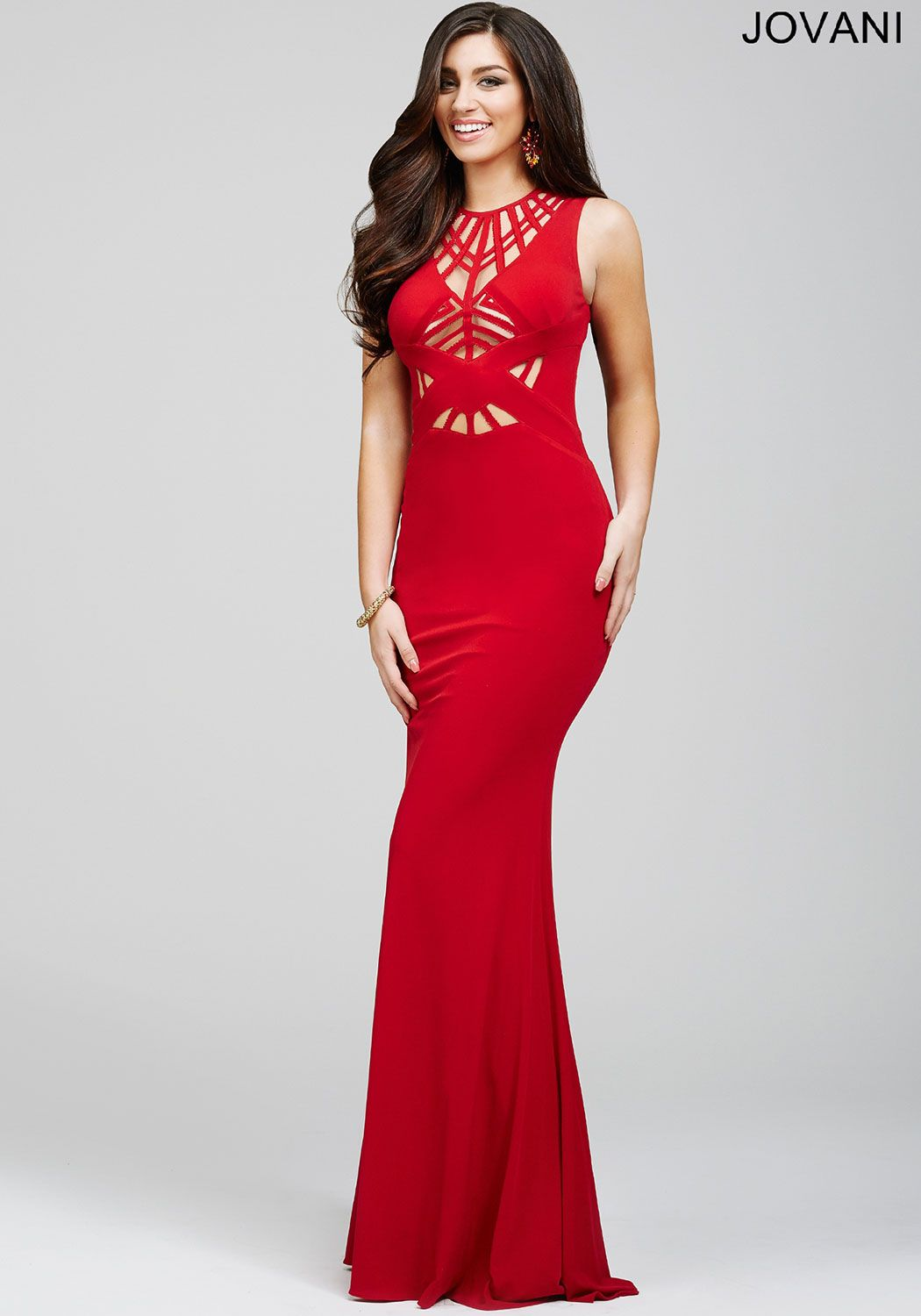 Jovani style sexy sleeveless floor length jersey prom dress