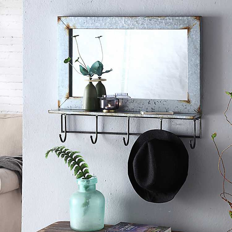 Abbott Rustic Wall Mirror with Shelf and Hooks from