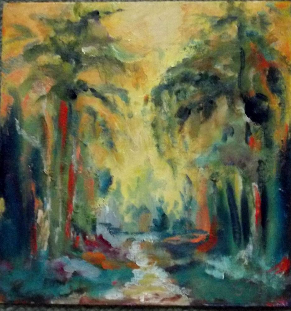 California impressionist oil painting Gail Grant abstract grove of trees colors!