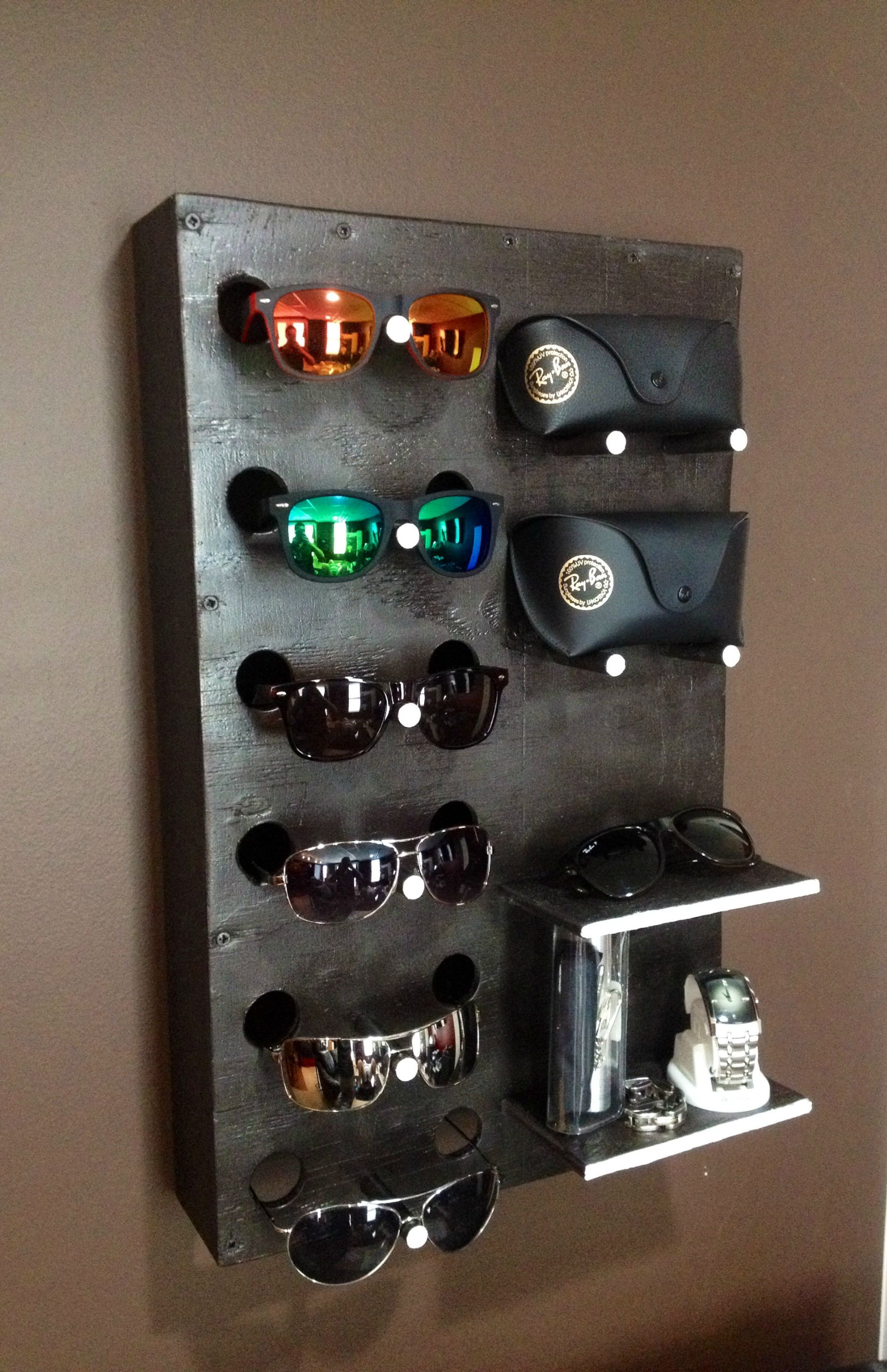 I built a sunglasses accessories display display for Homemade rack case