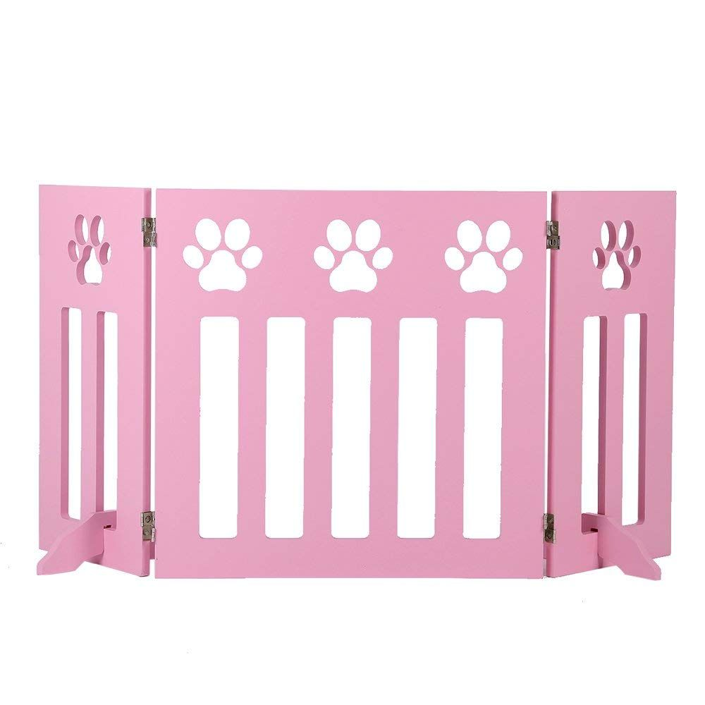 Freestanding Wooden Pet Gate 3 Panel Folding Fence Pink Puppy For Indoor Hall Doorway Stairs Fits Small Animals 24 Inch Tall Click