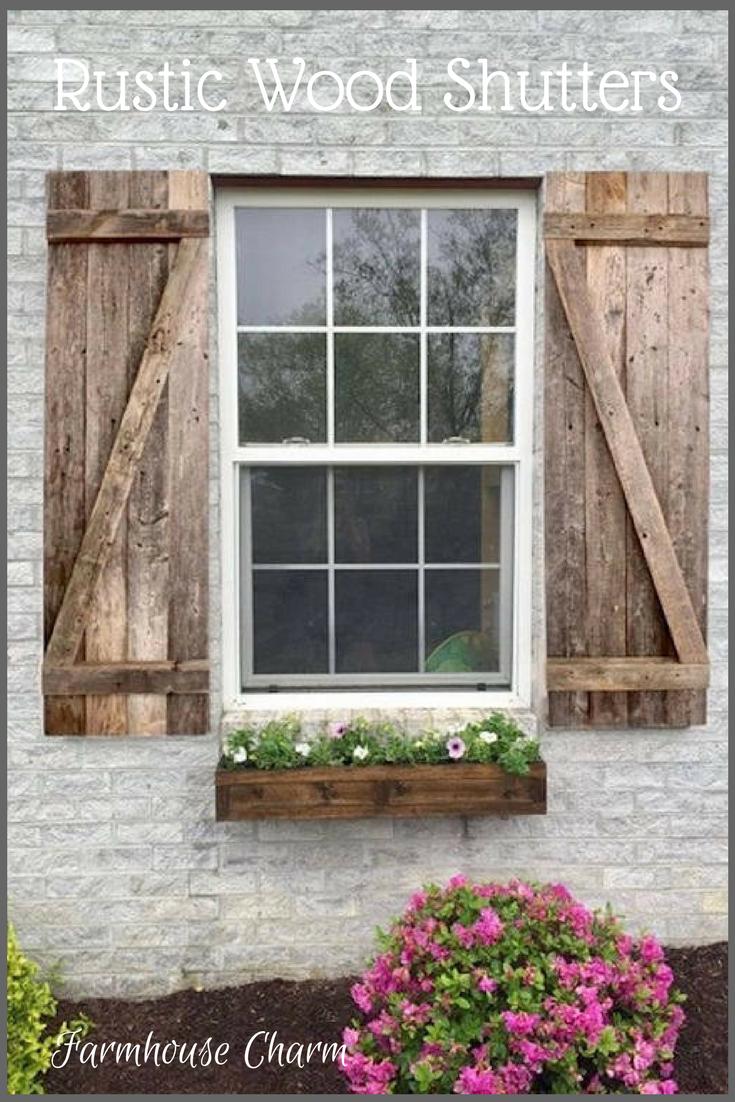 Rustic Wood Shutters Decorative Wood Shutters Farmhouse Window